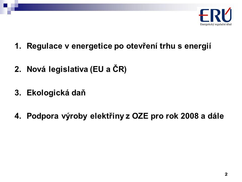 2 1.Regulace v energetice po otevření trhu s energií 2.Nová legislativa (EU a ČR) 3.Ekologická daň 4.Podpora výroby elektřiny z OZE pro rok 2008 a dále