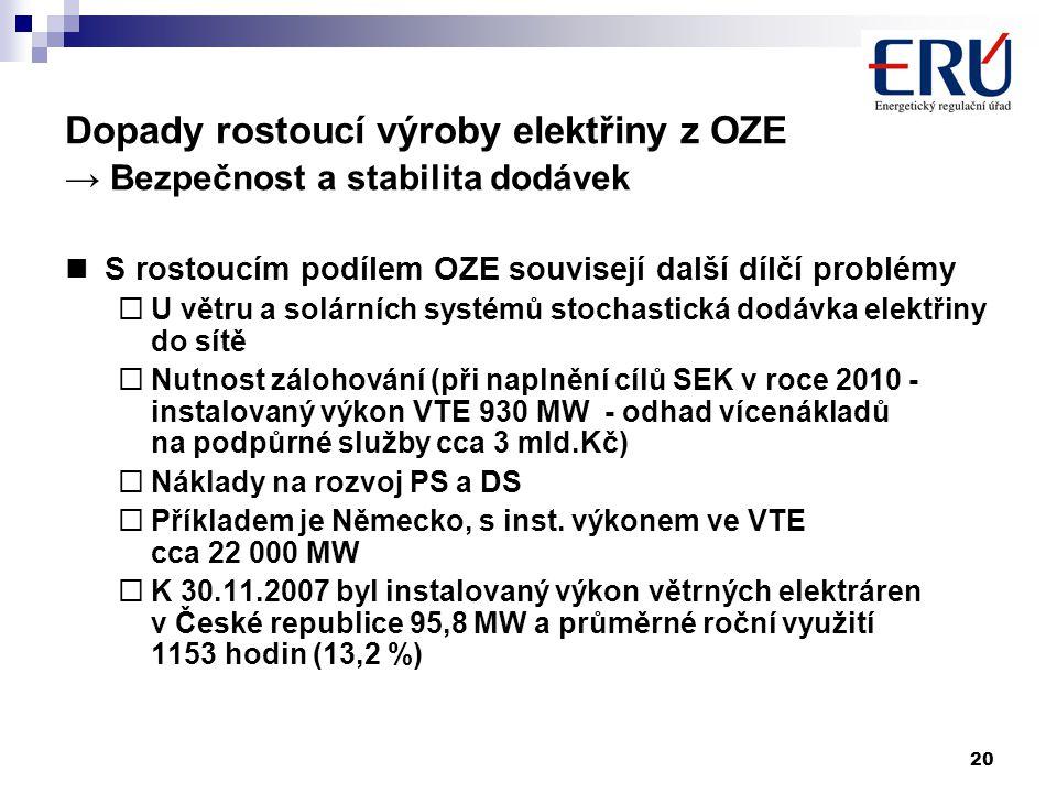 20 Dopady rostoucí výroby elektřiny z OZE → Bezpečnost a stabilita dodávek S rostoucím podílem OZE souvisejí další dílčí problémy  U větru a solárních systémů stochastická dodávka elektřiny do sítě  Nutnost zálohování (při naplnění cílů SEK v roce 2010 - instalovaný výkon VTE 930 MW - odhad vícenákladů na podpůrné služby cca 3 mld.Kč)  Náklady na rozvoj PS a DS  Příkladem je Německo, s inst.