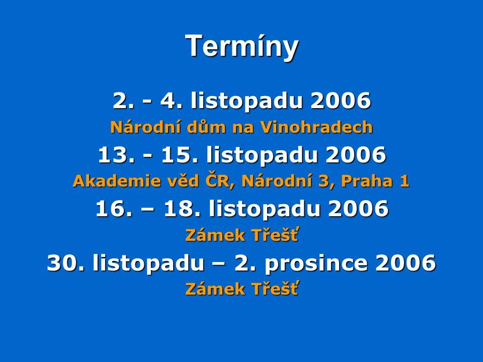Termíny 2.- 4. listopadu 2006 Národní dům na Vinohradech 13.