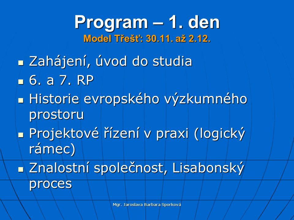 Mgr.Jaroslava Barbara Sporková Program – 1. den Model Třešť: 30.11.