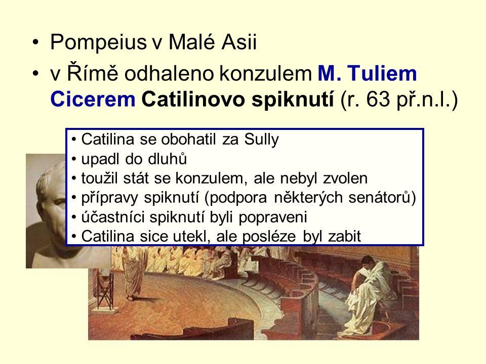 Pompeius v Malé Asii v Římě odhaleno konzulem M. Tuliem Cicerem Catilinovo spiknutí (r. 63 př.n.l.) Catilina se obohatil za Sully upadl do dluhů touži