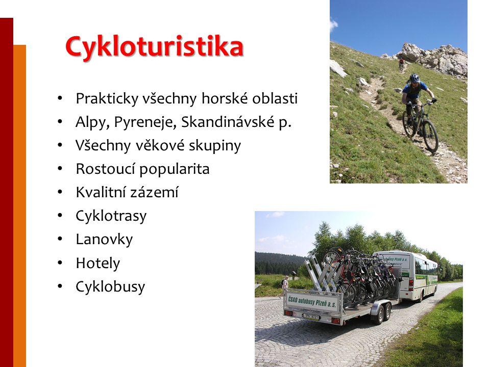 Cykloturistika Prakticky všechny horské oblasti Alpy, Pyreneje, Skandinávské p. Všechny věkové skupiny Rostoucí popularita Kvalitní zázemí Cyklotrasy