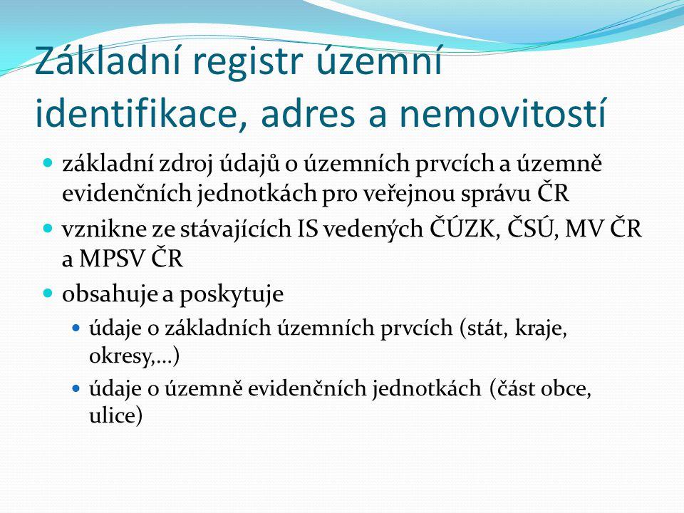 Základní registr územní identifikace, adres a nemovitostí základní zdroj údajů o územních prvcích a územně evidenčních jednotkách pro veřejnou správu