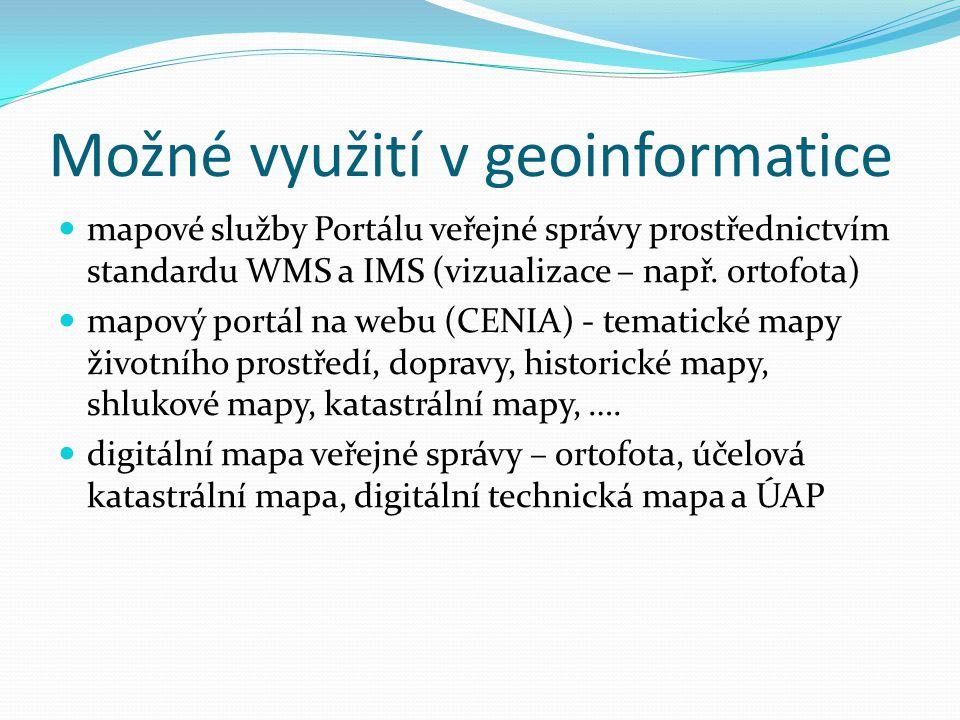 Možné využití v geoinformatice mapové služby Portálu veřejné správy prostřednictvím standardu WMS a IMS (vizualizace – např. ortofota) mapový portál n