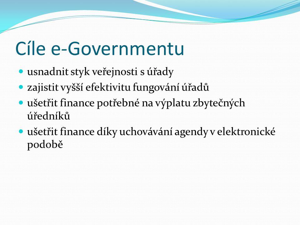 Cíle e-Governmentu usnadnit styk veřejnosti s úřady zajistit vyšší efektivitu fungování úřadů ušetřit finance potřebné na výplatu zbytečných úředníků