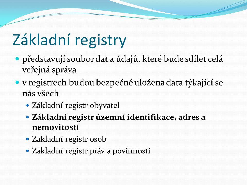 Základní registry představují soubor dat a údajů, které bude sdílet celá veřejná správa v registrech budou bezpečně uložena data týkající se nás všech