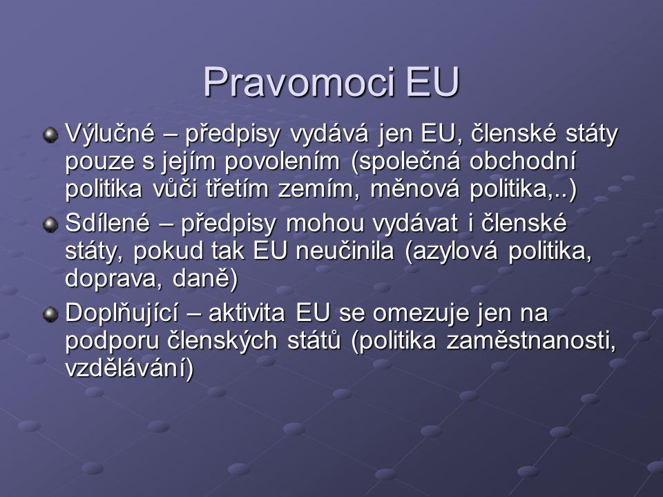 Pravomoci EU Výlučné – předpisy vydává jen EU, členské státy pouze s jejím povolením (společná obchodní politika vůči třetím zemím, měnová politika,..) Sdílené – předpisy mohou vydávat i členské státy, pokud tak EU neučinila (azylová politika, doprava, daně) Doplňující – aktivita EU se omezuje jen na podporu členských států (politika zaměstnanosti, vzdělávání)