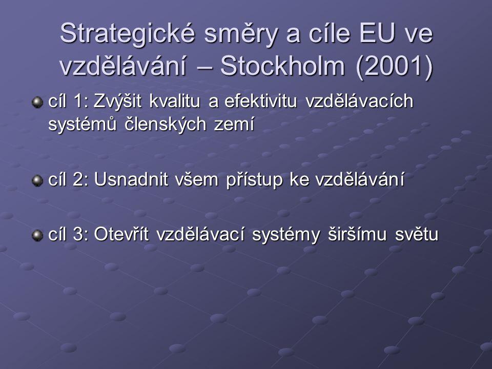 Strategické směry a cíle EU ve vzdělávání – Stockholm (2001) cíl 1: Zvýšit kvalitu a efektivitu vzdělávacích systémů členských zemí cíl 2: Usnadnit všem přístup ke vzdělávání cíl 3: Otevřít vzdělávací systémy širšímu světu