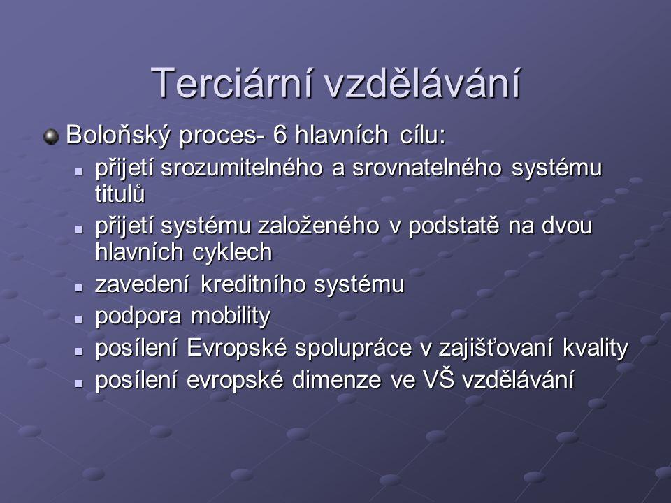 Terciární vzdělávání Boloňský proces- 6 hlavních cílu: přijetí srozumitelného a srovnatelného systému titulů přijetí srozumitelného a srovnatelného systému titulů přijetí systému založeného v podstatě na dvou hlavních cyklech přijetí systému založeného v podstatě na dvou hlavních cyklech zavedení kreditního systému zavedení kreditního systému podpora mobility podpora mobility posílení Evropské spolupráce v zajišťovaní kvality posílení Evropské spolupráce v zajišťovaní kvality posílení evropské dimenze ve VŠ vzdělávání posílení evropské dimenze ve VŠ vzdělávání
