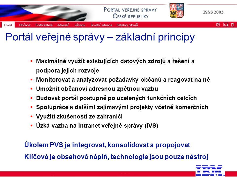 Portál veřejné správy © 2002 IBM Corporation ISSS 2003  Maximálně využít existujících datových zdrojů a řešení a podpora jejich rozvoje  Monitorovat