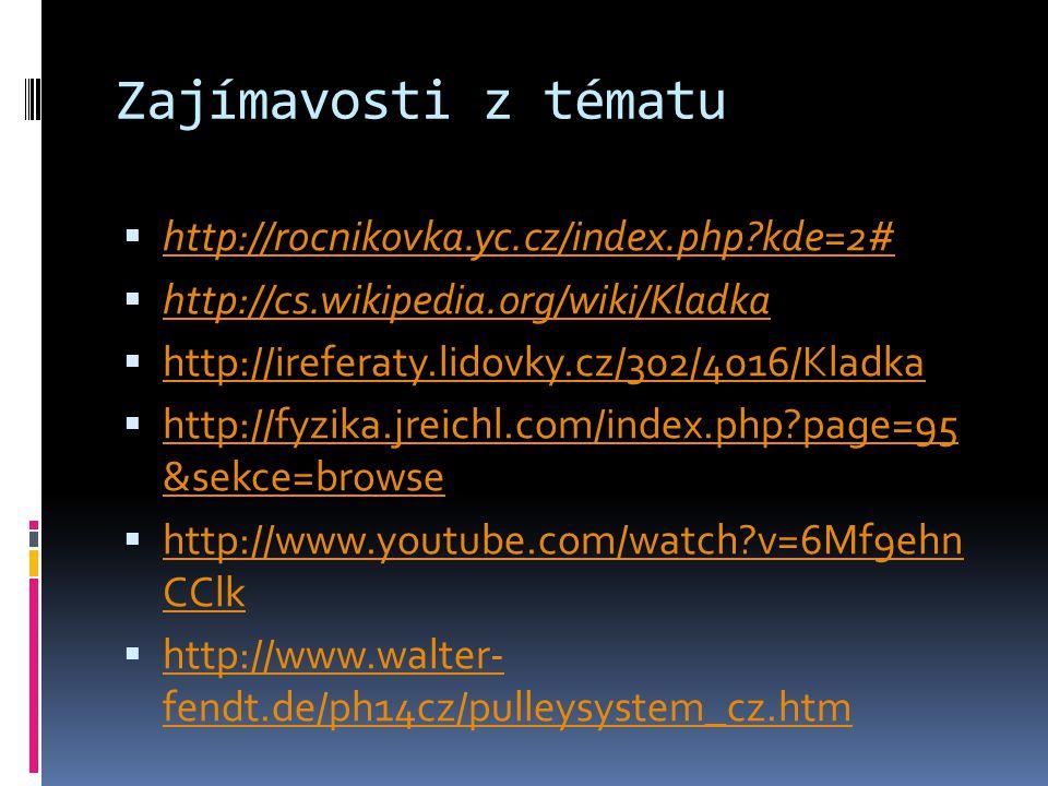 Zajímavosti z tématu  http://rocnikovka.yc.cz/index.php?kde=2# http://rocnikovka.yc.cz/index.php?kde=2#  http://cs.wikipedia.org/wiki/Kladka http://