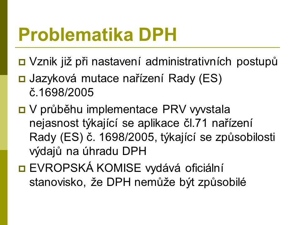 Problematika DPH  Vznik již při nastavení administrativních postupů  Jazyková mutace nařízení Rady (ES) č.1698/2005  V průběhu implementace PRV vyvstala nejasnost týkající se aplikace čl.71 nařízení Rady (ES) č.