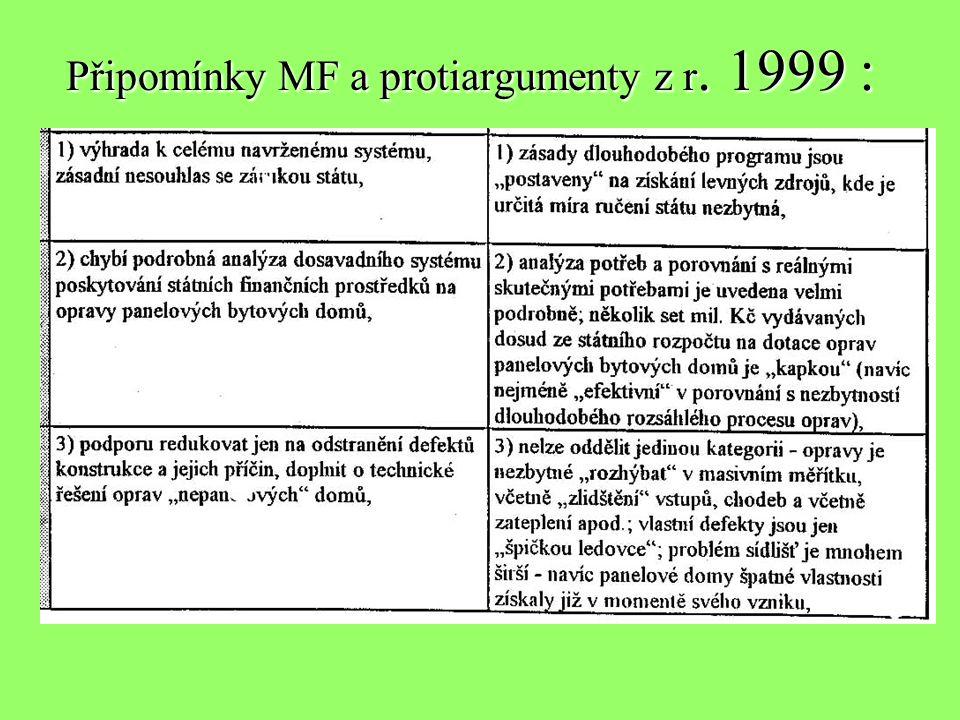 Připomínky MF a protiargumenty z r. 1999 :