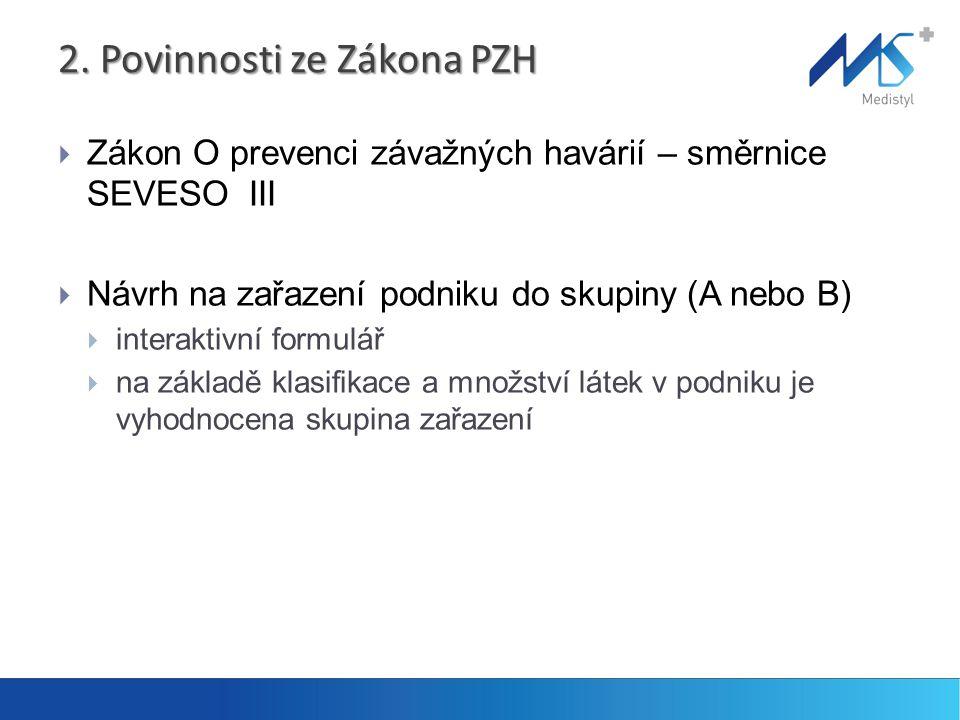 2. Povinnosti ze Zákona PZH  Zákon O prevenci závažných havárií – směrnice SEVESO III  Návrh na zařazení podniku do skupiny (A nebo B)  interaktivn
