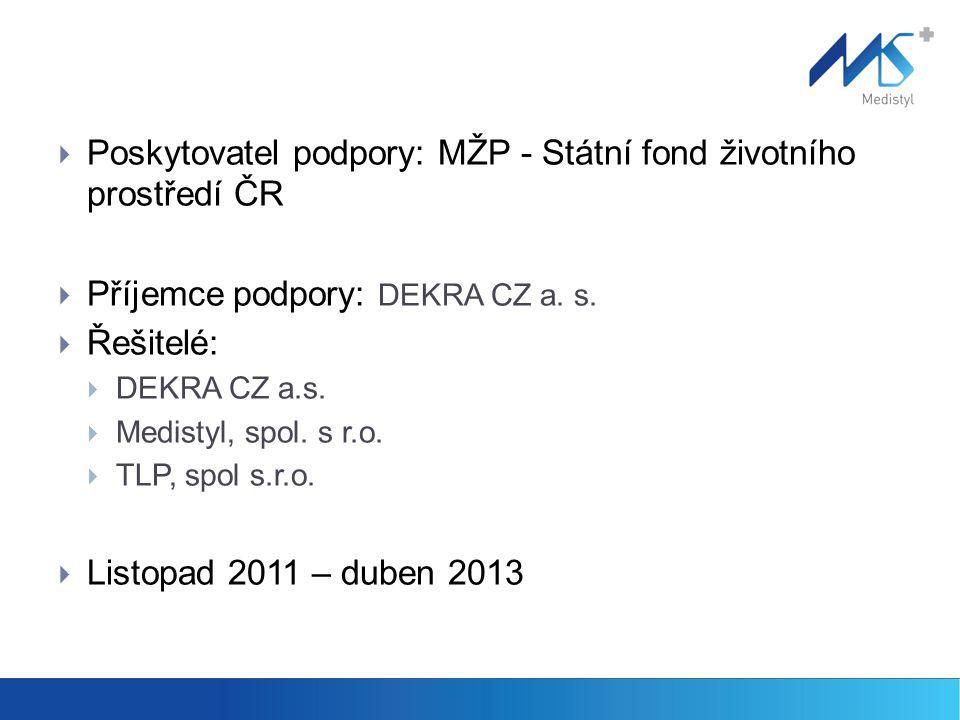  Poskytovatel podpory: MŽP - Státní fond životního prostředí ČR  Příjemce podpory: DEKRA CZ a.