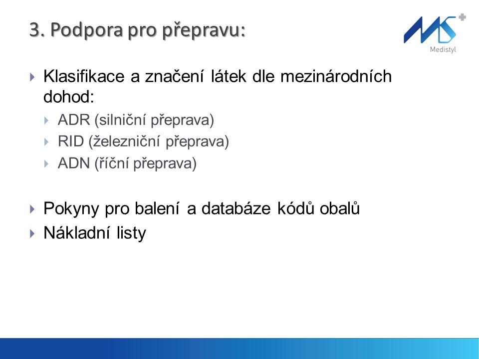 3. Podpora pro přepravu:  Klasifikace a značení látek dle mezinárodních dohod:  ADR (silniční přeprava)  RID (železniční přeprava)  ADN (říční pře
