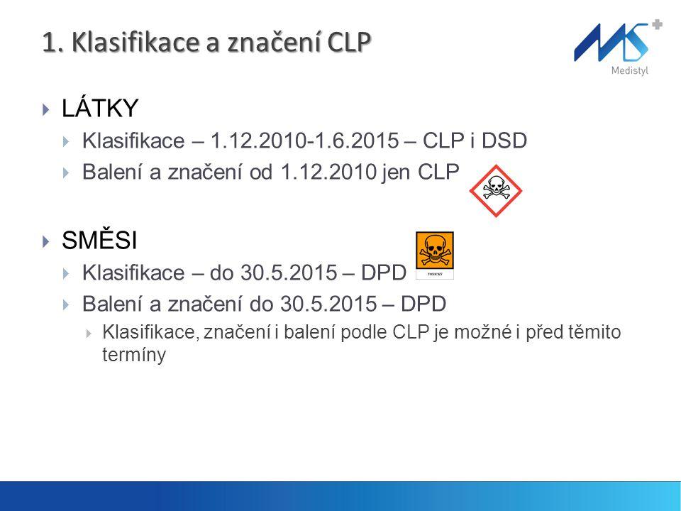 1. Klasifikace a značení CLP  LÁTKY  Klasifikace – 1.12.2010-1.6.2015 – CLP i DSD  Balení a značení od 1.12.2010 jen CLP  SMĚSI  Klasifikace – do