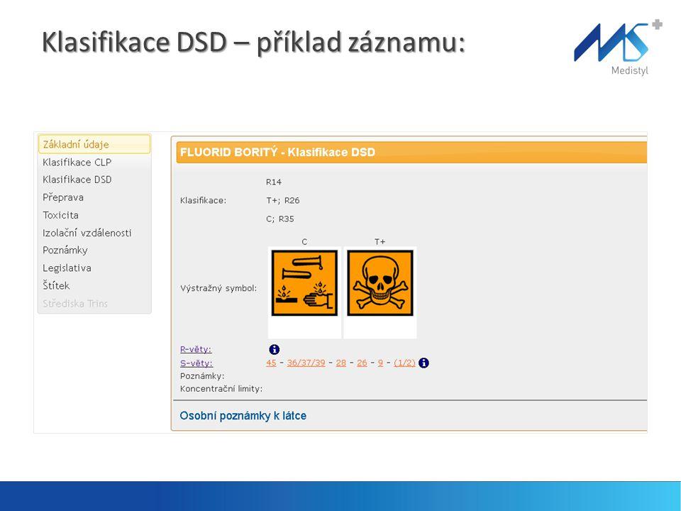 Klasifikace DSD – příklad záznamu: