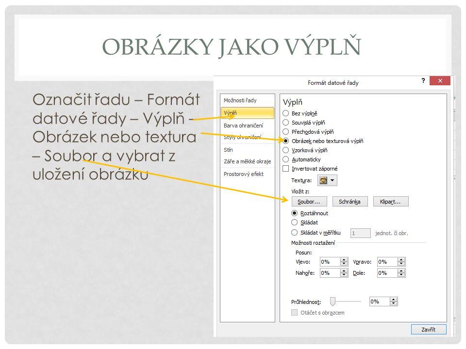 OBRÁZKY JAKO VÝPLŇ Označit řadu – Formát datové řady – Výplň – Obrázek nebo textura – Soubor a vybrat z uložení obrázku