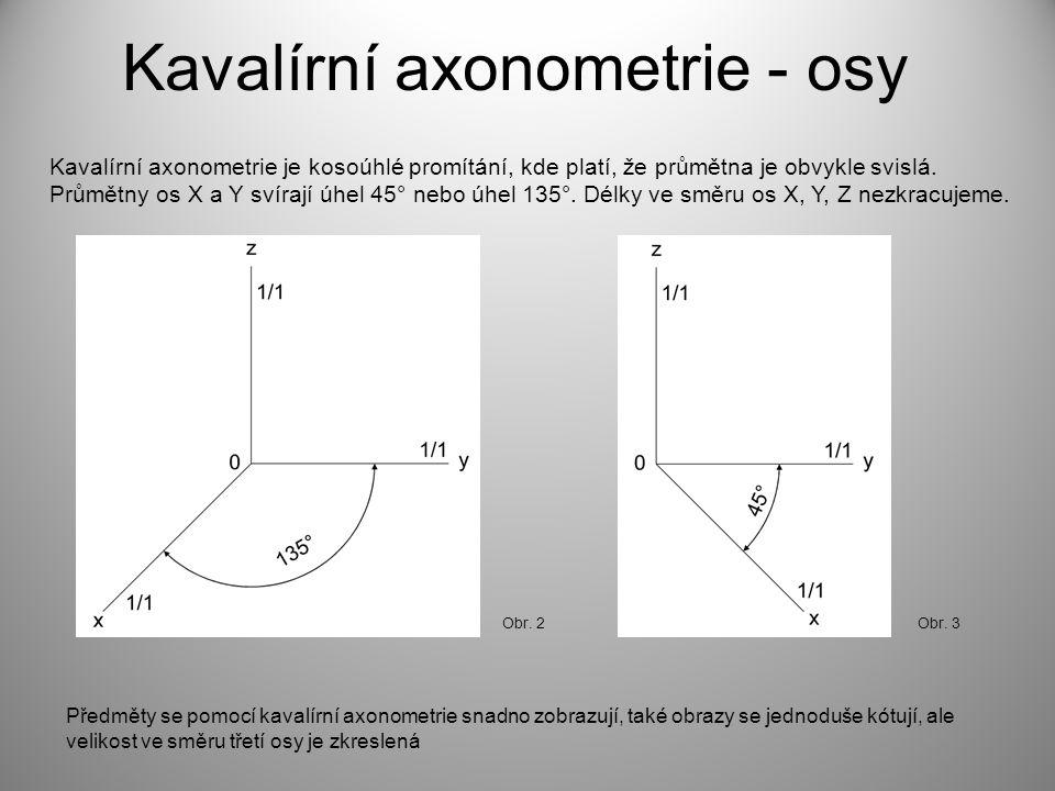 Kavalírní axonometrie - osy Kavalírní axonometrie je kosoúhlé promítání, kde platí, že průmětna je obvykle svislá. Průmětny os X a Y svírají úhel 45°