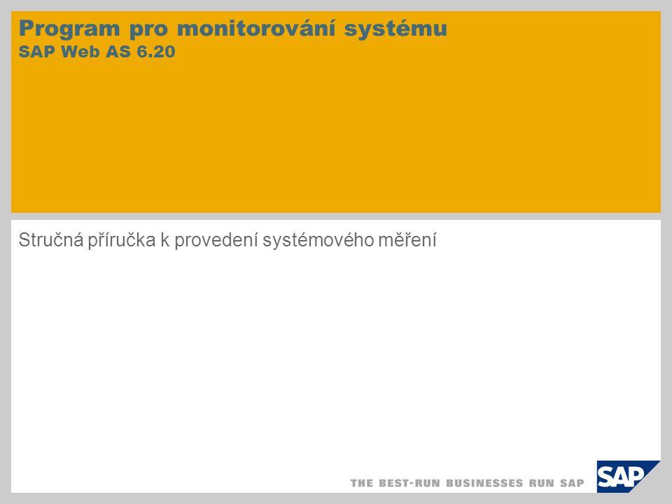 Program pro monitorování systému SAP Web AS 6.20 Stručná příručka k provedení systémového měření