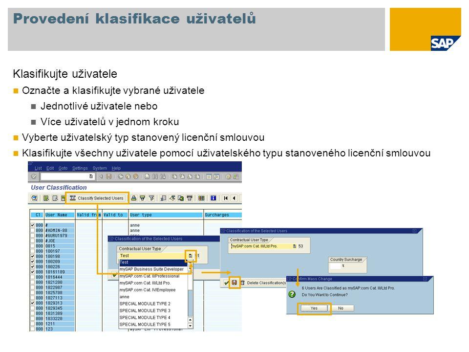 Provedení klasifikace uživatelů Klasifikujte uživatele Označte a klasifikujte vybrané uživatele Jednotlivé uživatele nebo Více uživatelů v jednom krok
