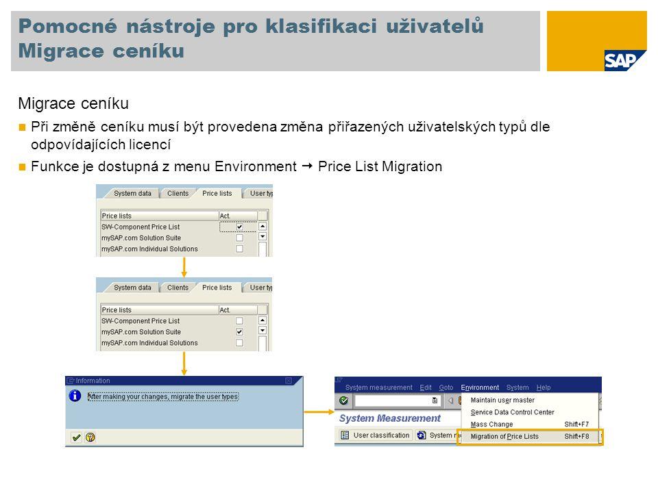 Pomocné nástroje pro klasifikaci uživatelů Migrace ceníku Migrace ceníku Při změně ceníku musí být provedena změna přiřazených uživatelských typů dle