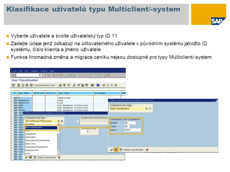 Klasifikace uživatelů typu Multiclient/-system Vyberte uživatele a zvolte uživatelský typ ID 11 Zadejte údaje jenž odkazují na účtovatelného uživatele