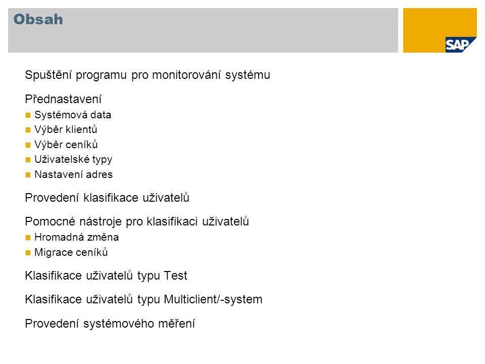 Obsah Spuštění programu pro monitorování systému Přednastavení Systémová data Výběr klientů Výběr ceníků Uživatelské typy Nastavení adres Provedení kl