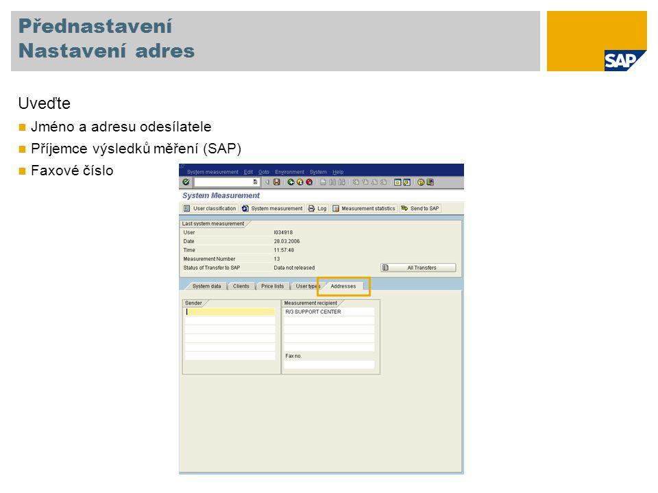 Přednastavení Nastavení adres Uveďte Jméno a adresu odesílatele Příjemce výsledků měření (SAP) Faxové číslo