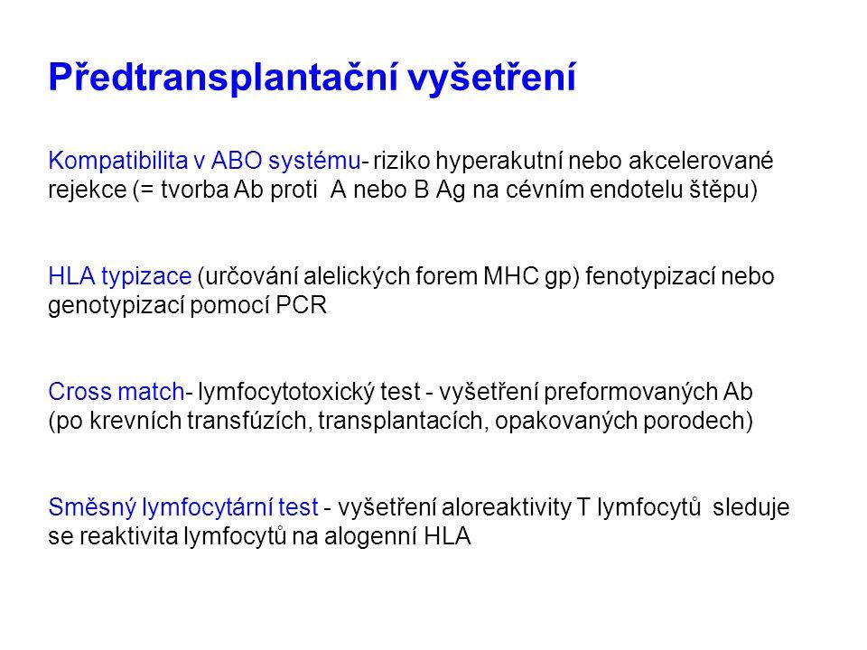 Předtransplantační vyšetření Kompatibilita v ABO systému- riziko hyperakutní nebo akcelerované rejekce (= tvorba Ab proti A nebo B Ag na cévním endote