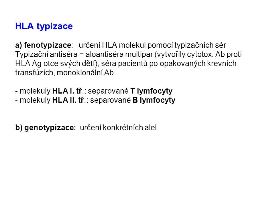 HLA typizace a) fenotypizace: určení HLA molekul pomocí typizačních sér Typizační antiséra = aloantiséra multipar (vytvořily cytotox. Ab proti HLA Ag