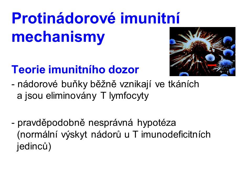 Protinádorové imunitní mechanismy Teorie imunitního dozor - nádorové buňky běžně vznikají ve tkáních a jsou eliminovány T lymfocyty - pravděpodobně ne