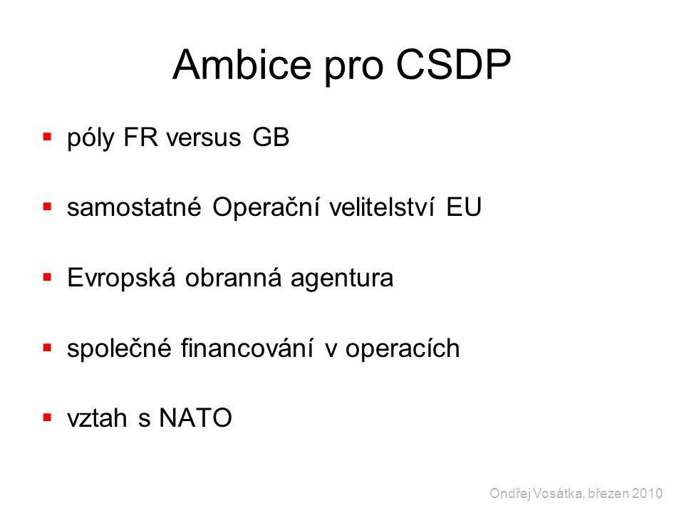 Ambice pro CSDP  póly FR versus GB  samostatné Operační velitelství EU  Evropská obranná agentura  společné financování v operacích  vztah s NATO