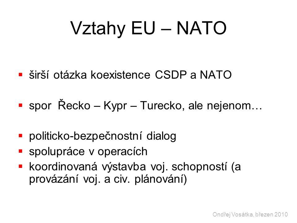 Vztahy EU – NATO  širší otázka koexistence CSDP a NATO  spor Řecko – Kypr – Turecko, ale nejenom…  politicko-bezpečnostní dialog  spolupráce v ope