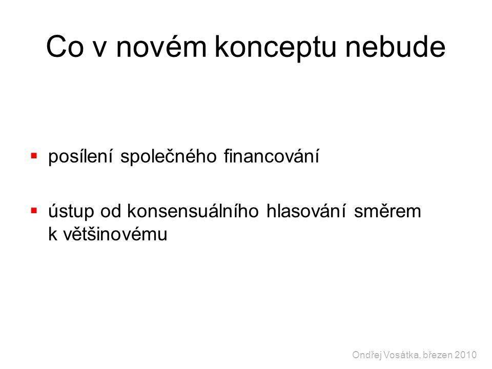 Co v novém konceptu nebude  posílení společného financování  ústup od konsensuálního hlasování směrem k většinovému Ondřej Vosátka, březen 2010