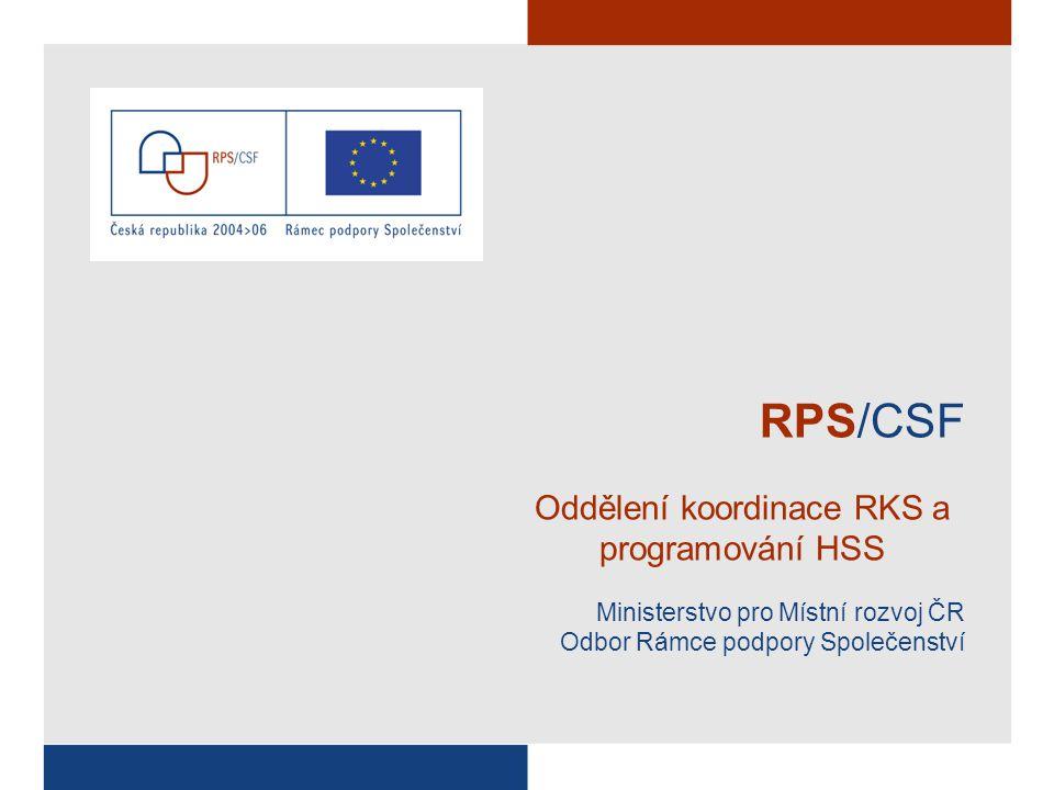 RPS/CSF Oddělení koordinace RKS a programování HSS Ministerstvo pro Místní rozvoj ČR Odbor Rámce podpory Společenství