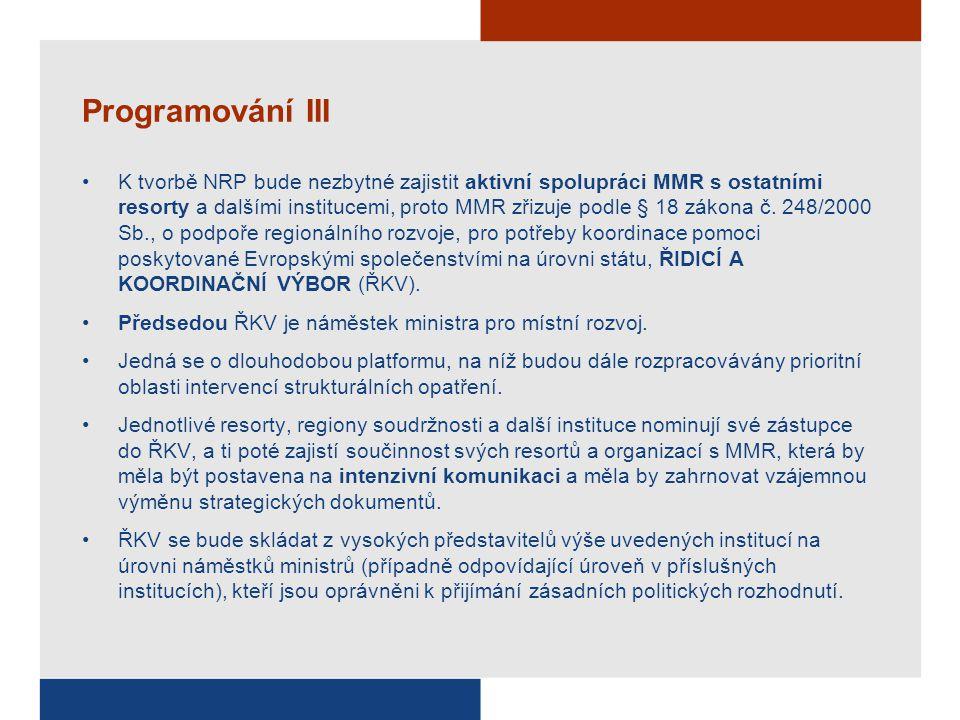 Programování III K tvorbě NRP bude nezbytné zajistit aktivní spolupráci MMR s ostatními resorty a dalšími institucemi, proto MMR zřizuje podle § 18 zá