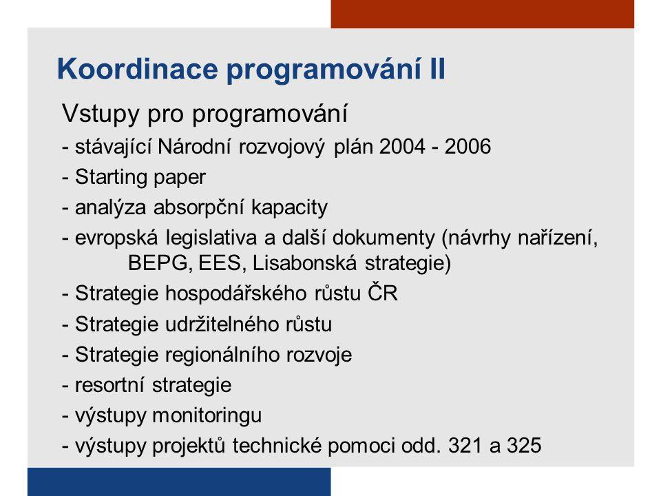 Koordinace programování II Vstupy pro programování - stávající Národní rozvojový plán 2004 - 2006 - Starting paper - analýza absorpční kapacity - evro