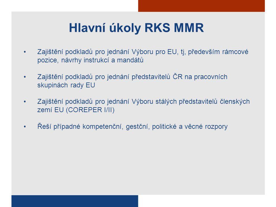 Hlavní úkoly RKS MMR Zajištění podkladů pro jednání Výboru pro EU, tj, především rámcové pozice, návrhy instrukcí a mandátů Zajištění podkladů pro jed
