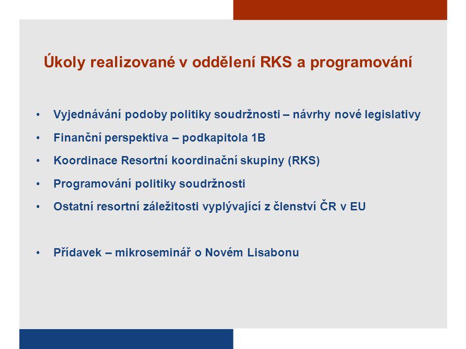Úkoly realizované v oddělení RKS a programování Vyjednávání podoby politiky soudržnosti – návrhy nové legislativy Finanční perspektiva – podkapitola 1