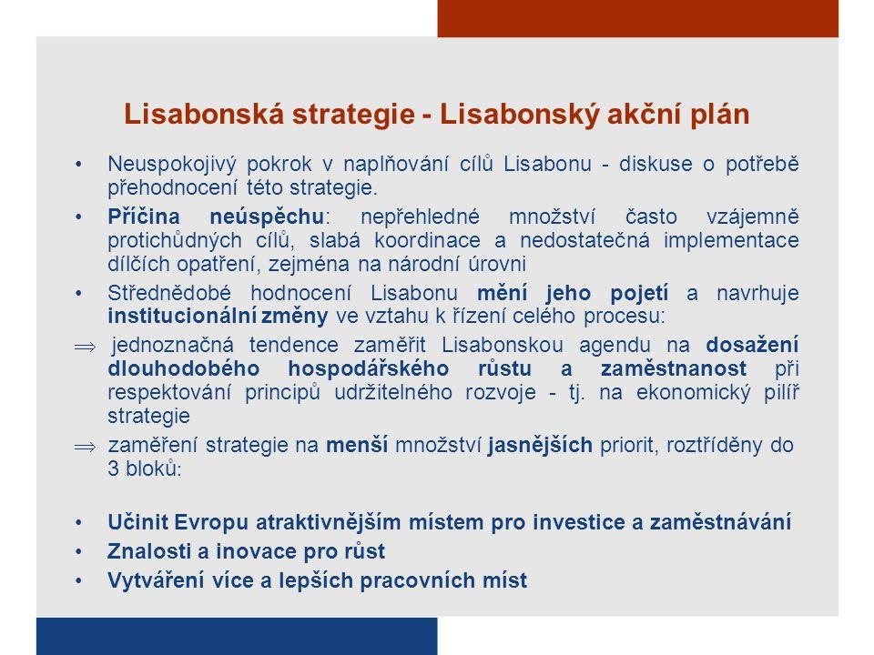 Lisabonská strategie - Lisabonský akční plán Neuspokojivý pokrok v naplňování cílů Lisabonu - diskuse o potřebě přehodnocení této strategie. Příčina n