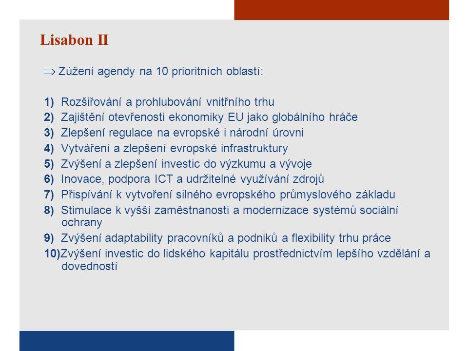 Lisabon II  Zúžení agendy na 10 prioritních oblastí: 1) Rozšiřování a prohlubování vnitřního trhu 2) Zajištění otevřenosti ekonomiky EU jako globální