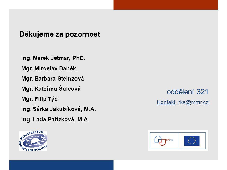Děkujeme za pozornost oddělení 321 Kontakt: rks@mmr.cz Ing. Marek Jetmar, PhD. Mgr. Miroslav Daněk Mgr. Barbara Steinzová Mgr. Kateřina Šulcová Mgr. F