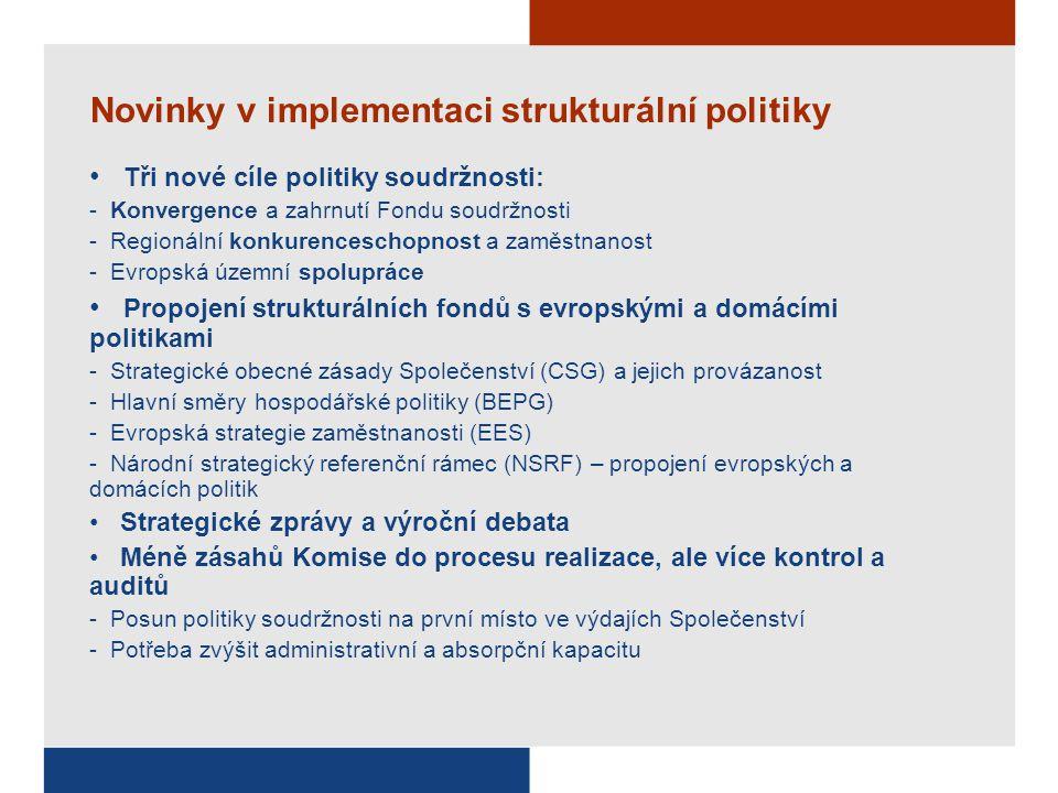 Novinky v implementaci strukturální politiky Tři nové cíle politiky soudržnosti: - Konvergence a zahrnutí Fondu soudržnosti - Regionální konkurencesch