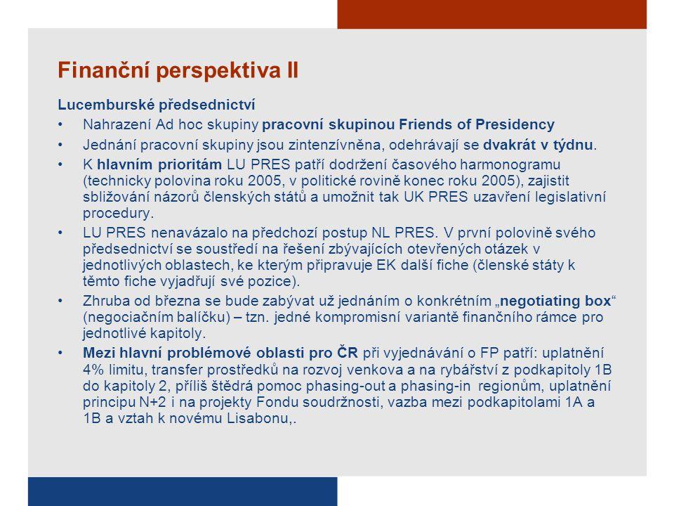 Finanční perspektiva II Lucemburské předsednictví Nahrazení Ad hoc skupiny pracovní skupinou Friends of Presidency Jednání pracovní skupiny jsou zinte