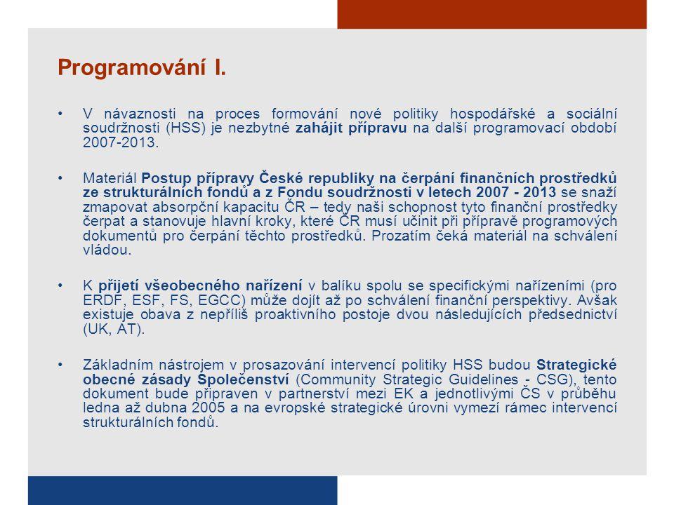 Programování I. V návaznosti na proces formování nové politiky hospodářské a sociální soudržnosti (HSS) je nezbytné zahájit přípravu na další programo