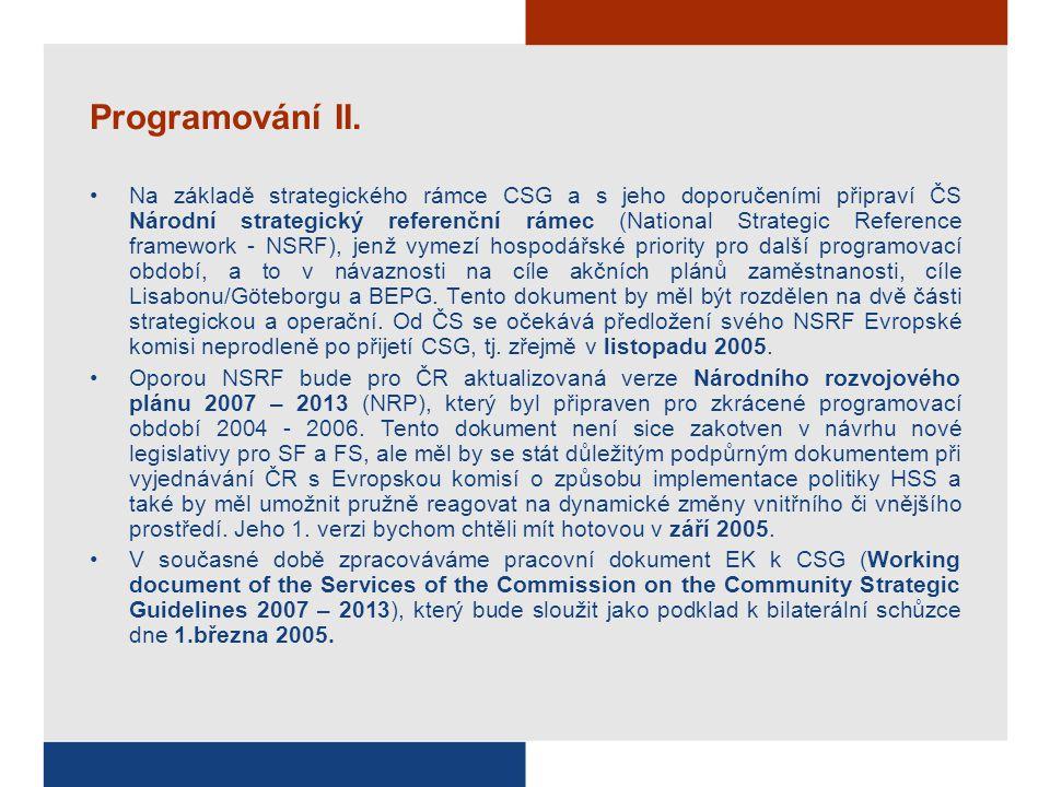 Programování II. Na základě strategického rámce CSG a s jeho doporučeními připraví ČS Národní strategický referenční rámec (National Strategic Referen