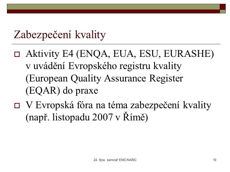 24. října, seminář ENIC/NARIC10 Zabezpečení kvality  Aktivity E4 (ENQA, EUA, ESU, EURASHE) v uvádění Evropského registru kvality (European Quality As
