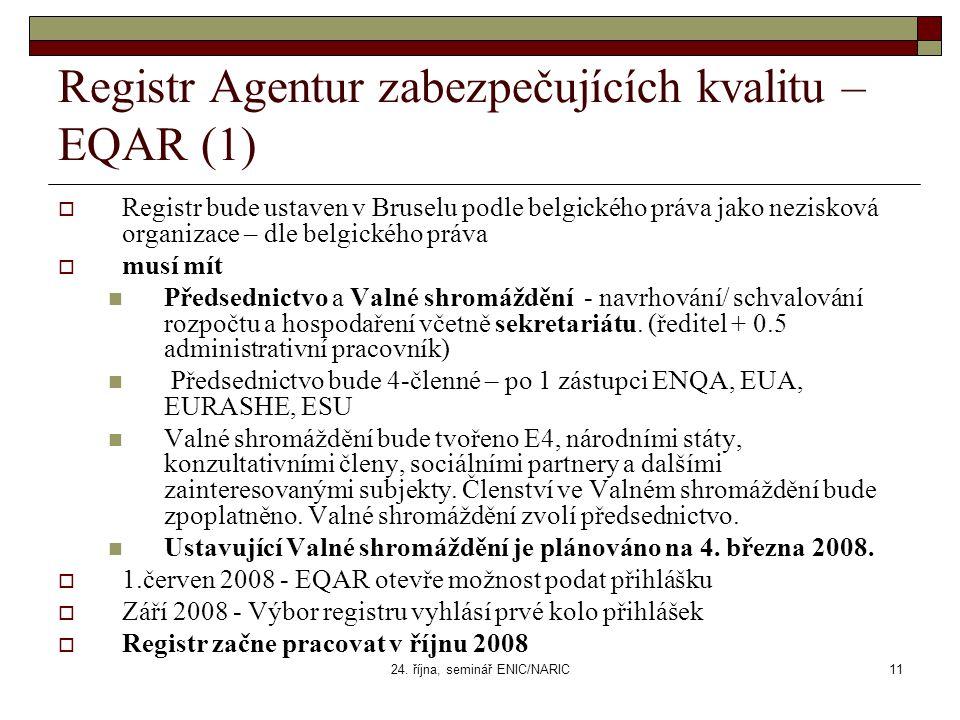 24. října, seminář ENIC/NARIC11 Registr Agentur zabezpečujících kvalitu – EQAR (1)  Registr bude ustaven v Bruselu podle belgického práva jako nezisk